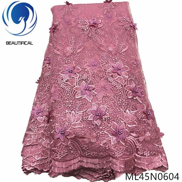 Piękne 3d koronki kwiaty najnowsze nigeryjskie koronki style francuski party koronki tkaniny 5 metrów 2019 tiul tkaniny 3d ML45N06