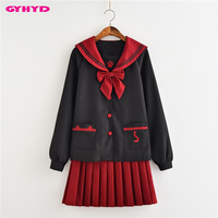 GYHYD Anime School Uniform Long Sleeve Sailor Suits Lolita Schoo Girls Cosplay Costume JK Uniform
