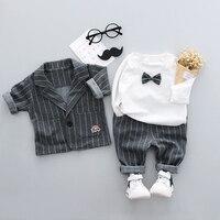 Newborn Baby Clothes Set Children Clothing Gentleman Striped Suit Bow Shirt Overalls Pants Fashion Infant Boys