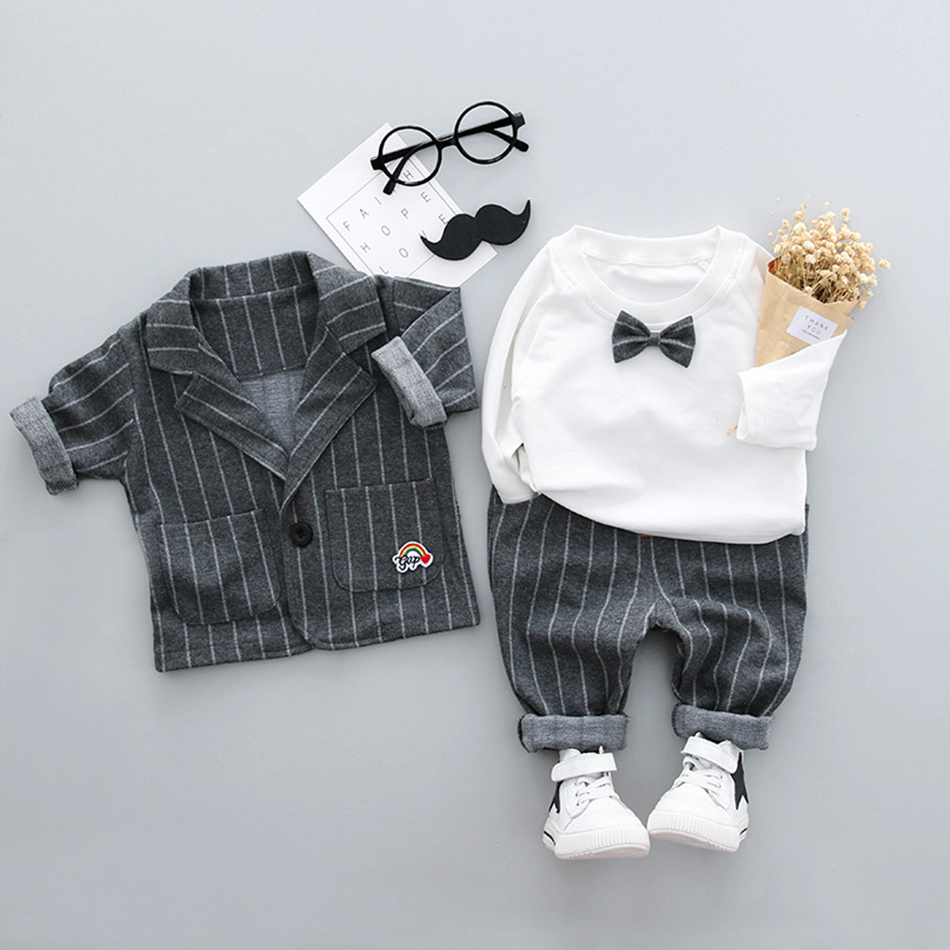Newborn baby clothes Set children clothing gentleman striped Suit+Bow shirt overalls +Pants fashion Infant boys clothes Costume kids clothing set plaid shirt with grey vest gentleman baby clothes with bow and casual pants 3pcs set for newborn clothes