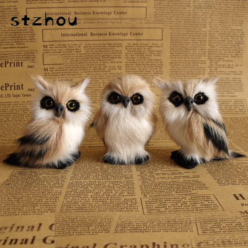 StZhou 3pcs/lot simulation brown owl about 9x7cm Handmade craft model toy polyethylene&furs night owl toy decoration gift new big simulation wings pigeons toy polyethylene