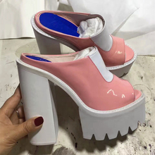 Fashion Patent Leather Slip On Women Slippers 2017 Summer New Sexy High Heels Platform Shoes Woman Open Toe Gladiator Sandals