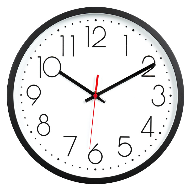 Nordic Mute Wall Clock Creative Fashion Living Room Stereo Digital Scale Clock Plastic Watch Wholesale 12-Inch 30 Cm