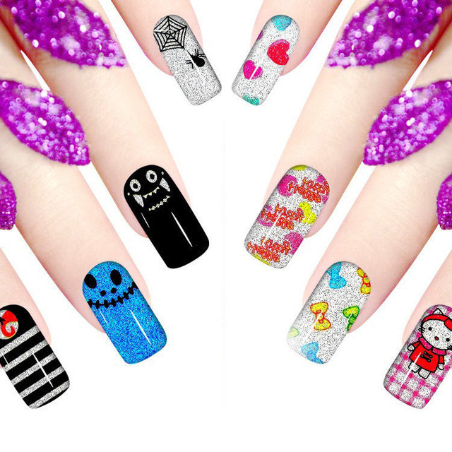 5pcs Self Adhesive 12 fingers Full Nail Art Stickers Kawaii Cartoon ...