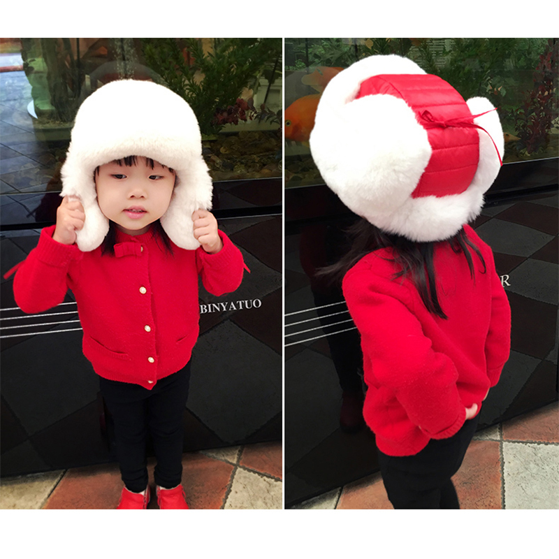 2016 Children Real Rabbit Fur hats Boy Girl Winter Warm solid Hat For Kids Child Ear Hat Lei Feng Unises Red Black Cap QMH06 wool 2 pieces set kids winter hat scarves for girls boys pom poms beanies kids fur cap knitted hats