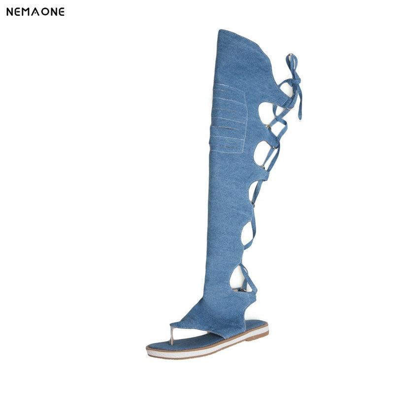 NEMAONE women Thong shoes denim summer boots low heels over the knee high boots woman black blue beige