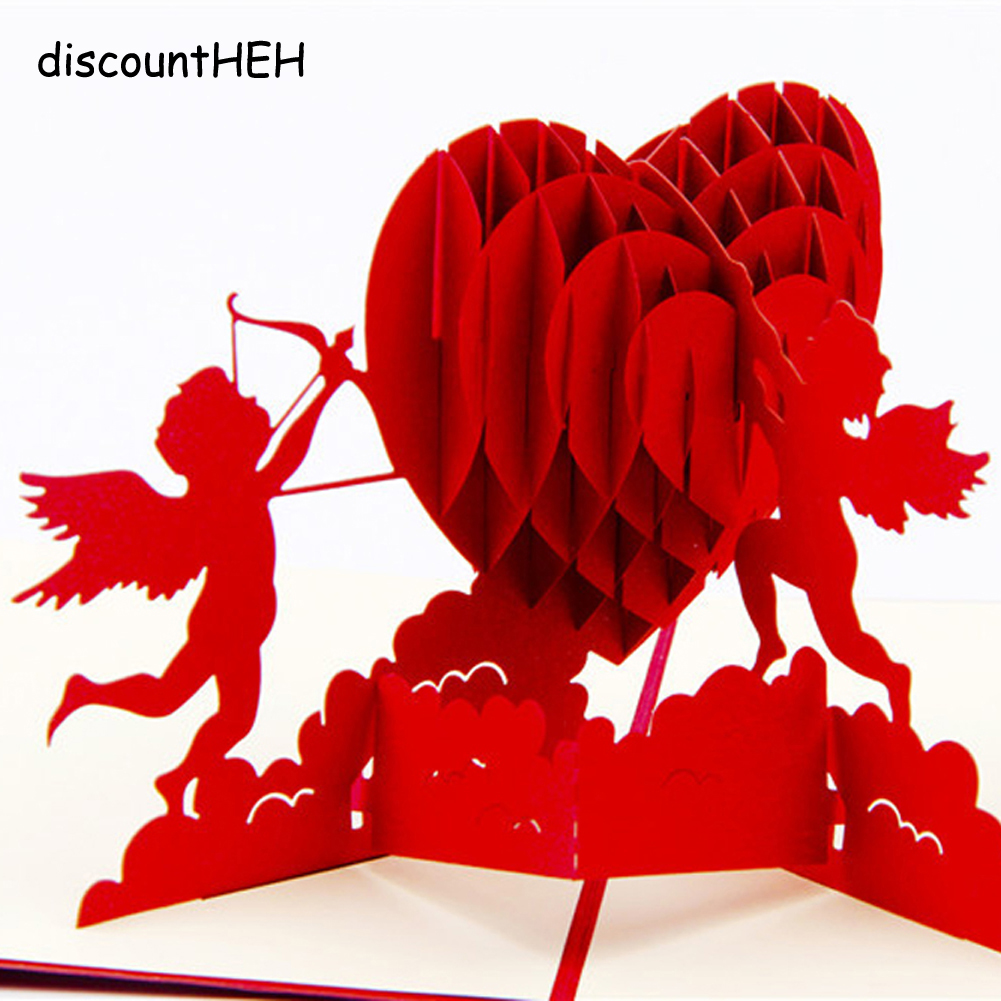 3D Creative Handmade Love Cupid Post Cards Valentines Wedding Xmas Gift Pop Up Foldable Cut Paper Greeting Cards