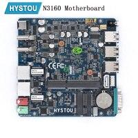 Hystou Мини ПК Nano Промышленная материнская плата ITX Intel N3160 безвентиляторный X86 Новый NUC мини ПК Мягкий маршрутизатор Linux Поддержка Pfsense AES NI