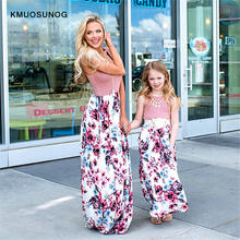Women Dress 2019 Mother daughter dresses Floral Long Dress Mom and daughter clothes Travel Dress Family Matching Clothes C0258 mother and daughter clothes sexy family long sleeve women dresses for party and bandage dress a line prom dresses for women