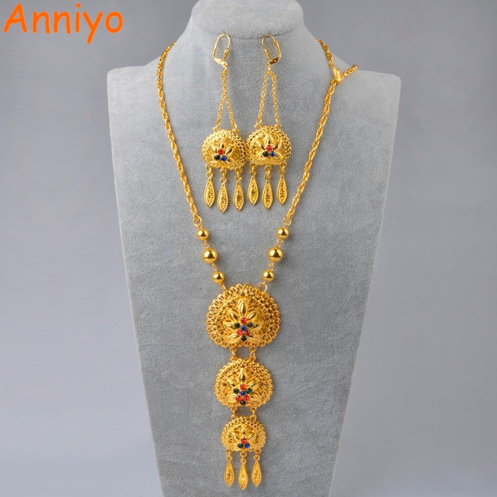 Anniyo 65cm Necklace and Earrings for Women Gold Colo Arab Middle East Wedding Jewelry Qatar Dubai Saudi Arabia Gifts #088706 цена