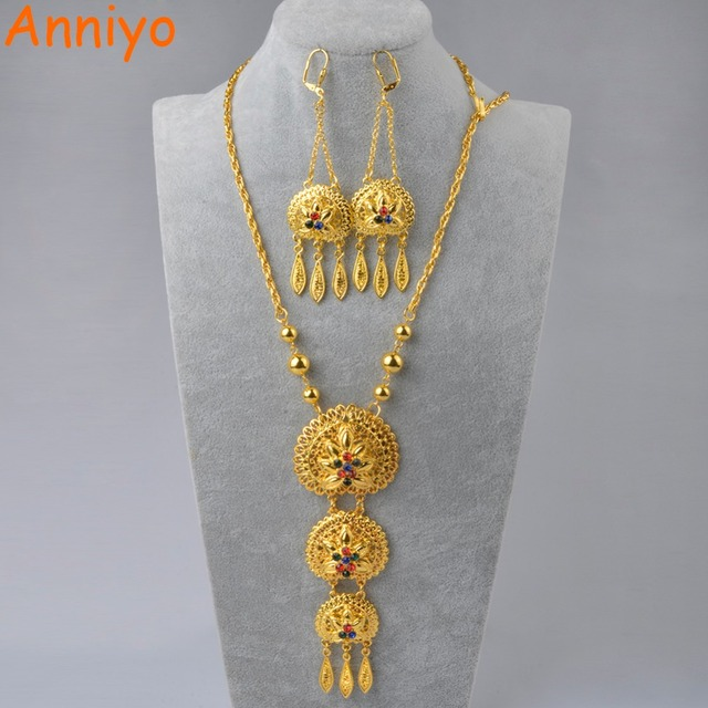Anniyo 65cm Necklace And Earrings For Women Gold Colo Arab Middle