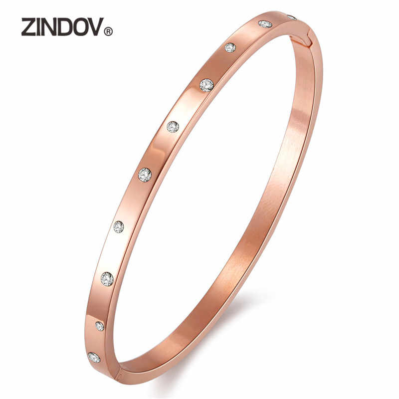 ZINDOV Cheap Stainless Steel Bangle Bracelet For Women Gold Color And Rose Gold High Polish Silver Not Tarnish Fashion Jewelry
