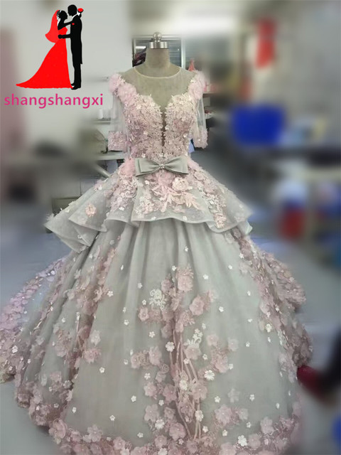 Vintage Ball Gown Wedding Dresses 2017 Real Photo 3D Floral Handmade Flowers Court Train Half Sleeves