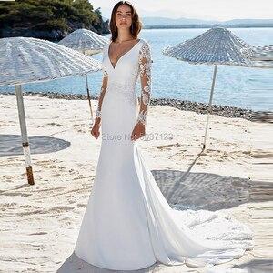 Image 2 - Deep V Neck Mermaid Wedding Dresses Long Sleeves Lace Appliques Button Back Plus Size Vestido De Novias Bridal Wedding Gowns