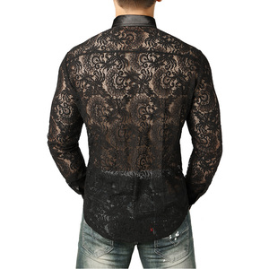Image 3 - Mens Mesh Fishnet Clubwear Shirts 슬림 피트 롱 슬리브 섹시한 레이스 셔츠 남성 파티 이벤트 Prom Transparent Chemise 2XL