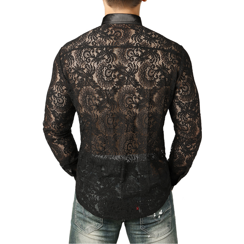 Image 3 - Mens Mesh See Through Fishnet Clubwear Shirts Slim Fit Long Sleeve Sexy Lace Shirt Men Party Event Prom Transparent Chemise 2XLCasual Shirts   -