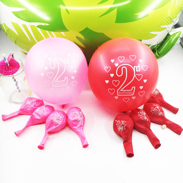 Amawill 10pcs 2nd Birthday Balloons Happy Number 2 Latex For Years Old