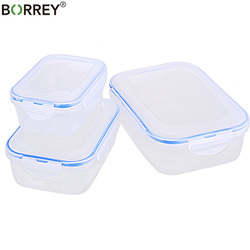 BORREY 3PCS Plastic Food Storage Box Set Fridge Freezer Food Storage Boxes  Fresh Vacuum Box Heat Resistant Kitchen Containers