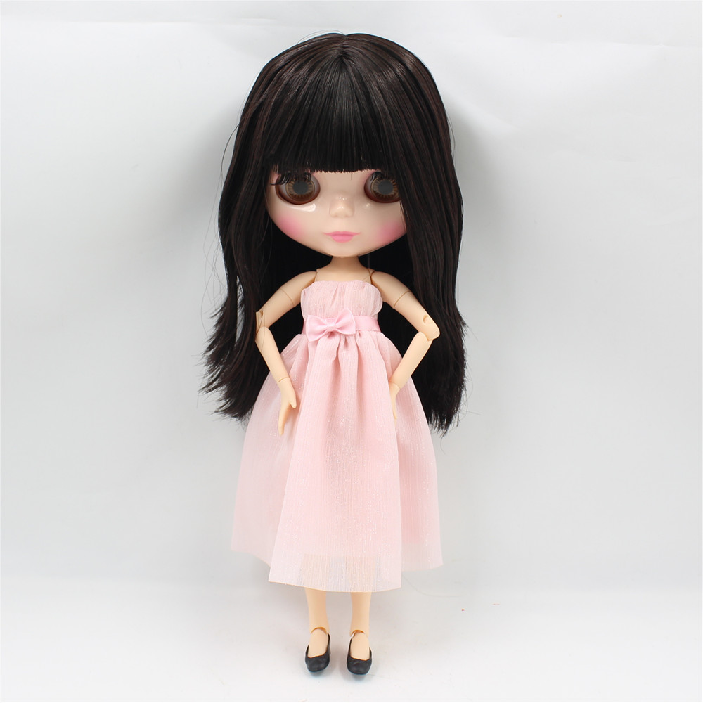 Neo Blythe Doll with Brown Hair, Natural Skin, Shiny Face & Jointed Body 1