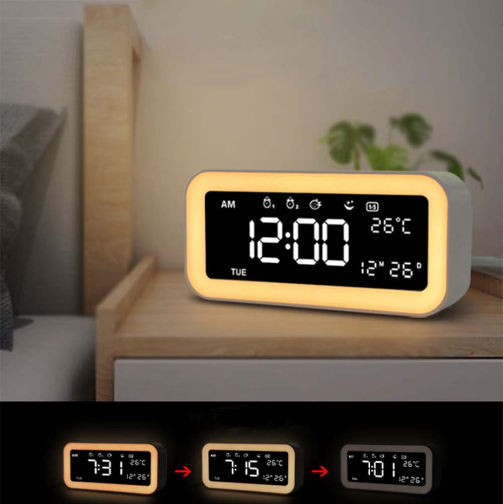 Image 4 - Hot 12V Dual Usb Charging Smart Digital Alarm Clock With Dimmable Led Light Music Snooze Function Alarm Clock-in Alarm Clocks from Home & Garden