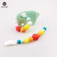 Baby Shower Gift BPA Free Silicone Teething Pacifier Clip Multicolour Beaded Pacifier Clip Soothie Elephant 2pc