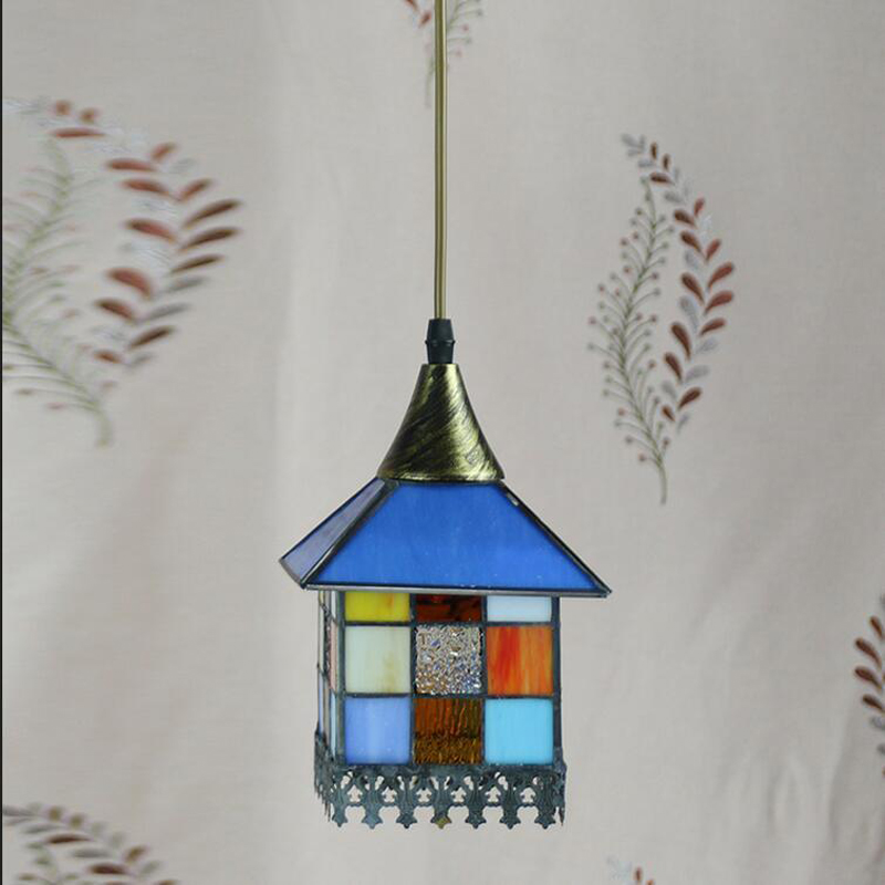 Tiffany creative Mediterranean pendant light restaurant in front of the hotel cafe bar small aisle entrance pendant lamp DF33 tiffany restaurant in front of the hotel cafe bar small aisle entrance hall creative pendant light mediterranean df66
