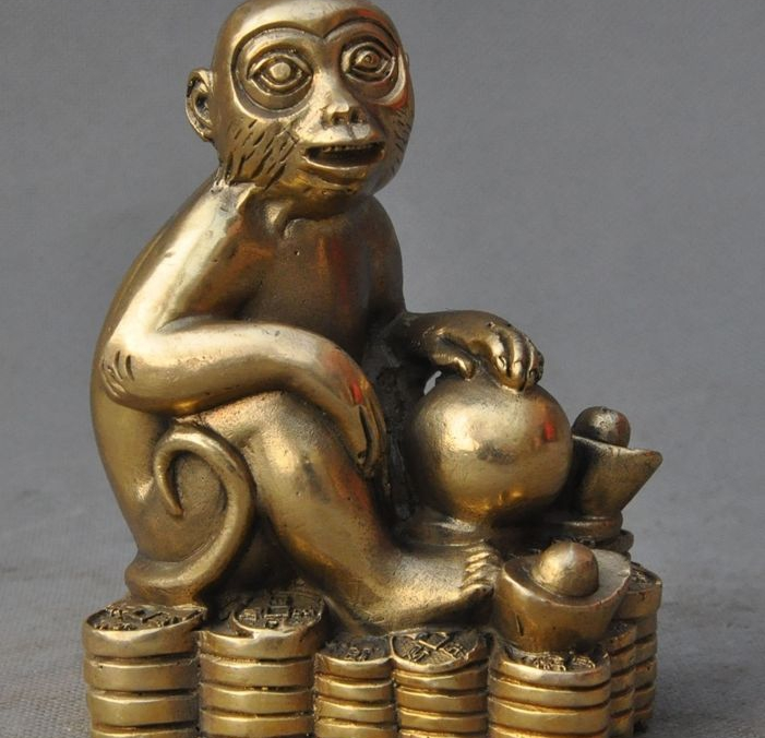 Chinese Fengshui Brass Copper Wealth yuanbao Money Coin Lucky monkey Art Statue|statue|statue art|  - title=