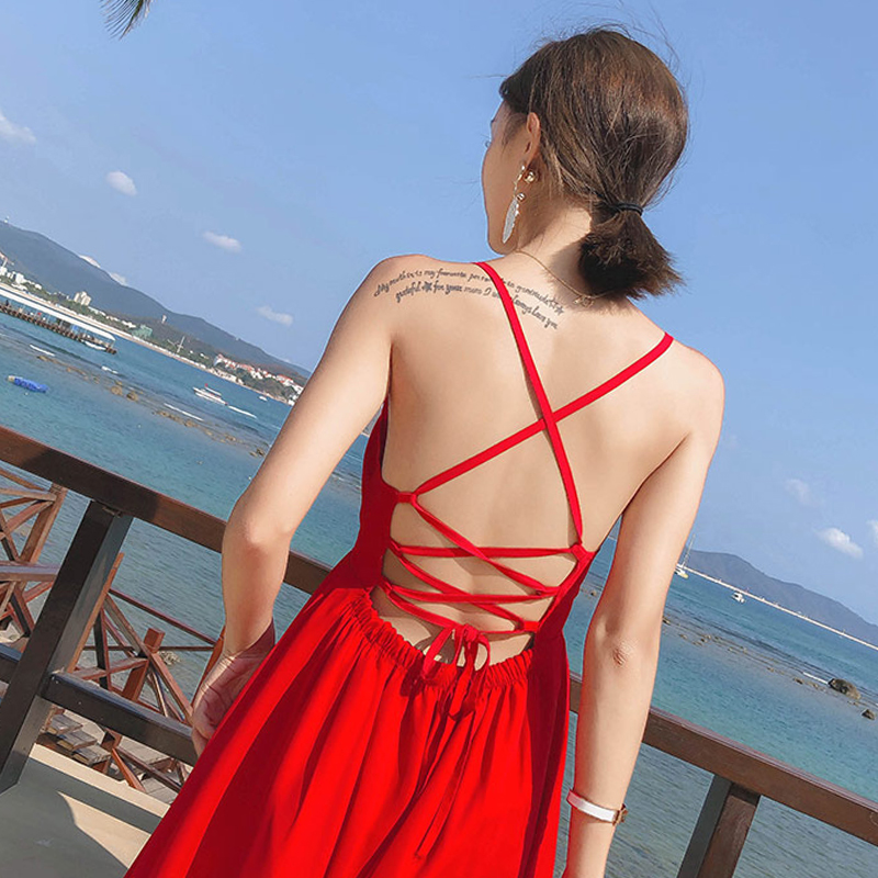 2019 nouveau femmes robe rouge bord de mer photo vacances Bali thaïlande était mince robe de plage femme Hainan Sanya voyage essentiel