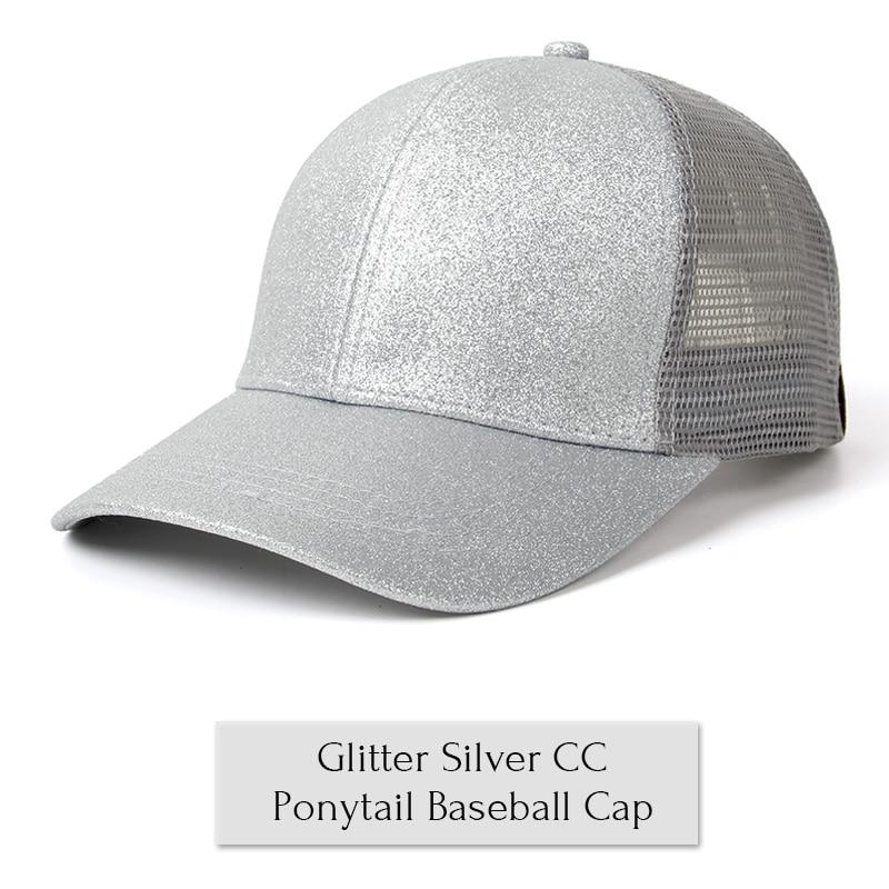259b41a35 Drop Shipping 2018 Glitter Ponytail Baseball Cap Women Snapback Hat Summer  Messy Bun Mesh Hats Casual Adjustable Sport Caps