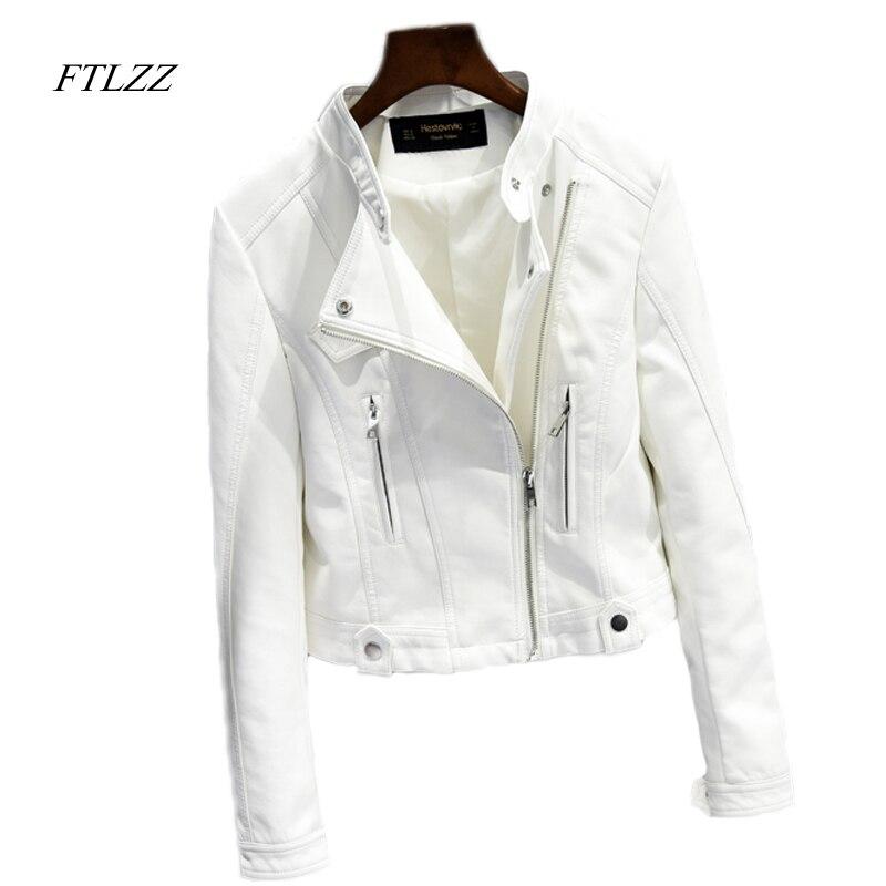 Ftlzz falso chaqueta de cuero mujeres otoño moda punk cremallera del diseño  corto Delgado chaqueta de cuero negro suave de la motocicleta en Cuero y  Suede ... 953ee82caf2