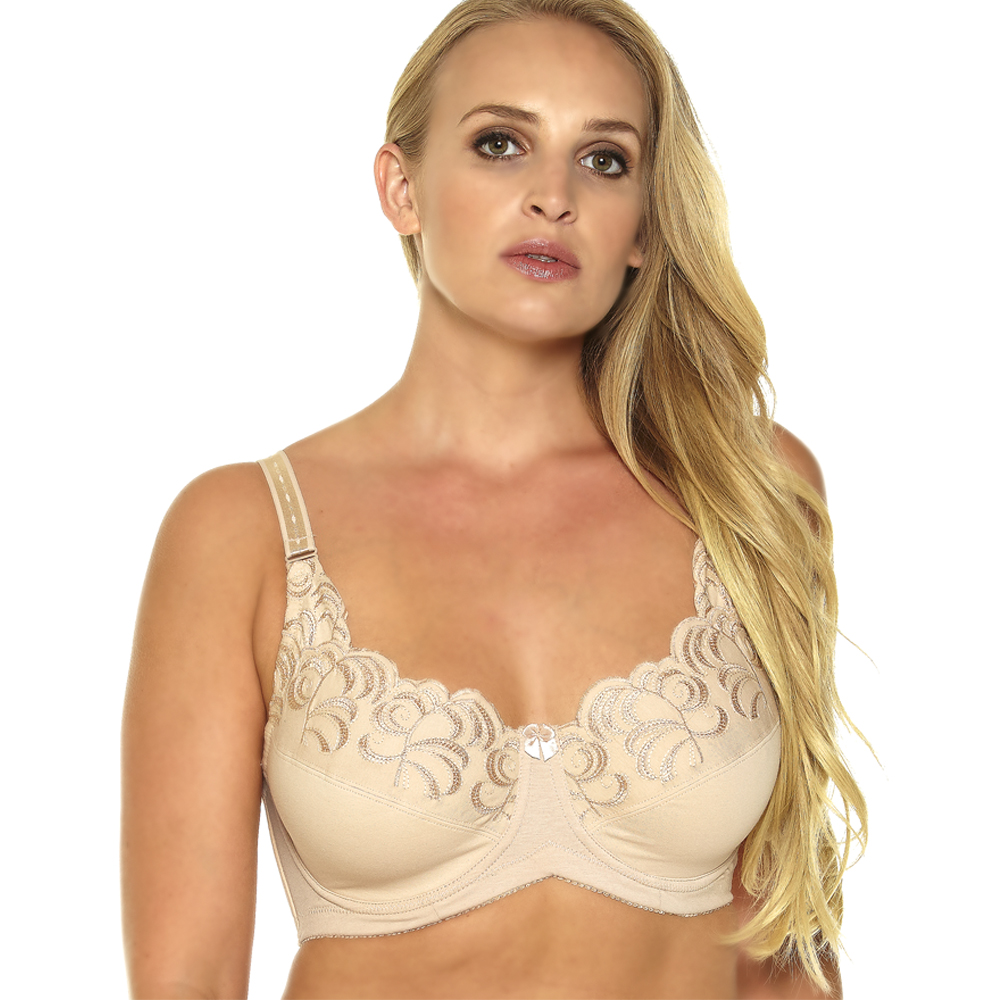Embroidery Cotton Minmizer Bra Women Everyday 1053A