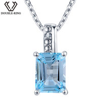 DOUBLE R 1.85 ct Natural Stone Blue Topaz Pendant Women 925 Sterling Silver with Chain 0.01 ct Real Diamond Jewelry Wedding Gift