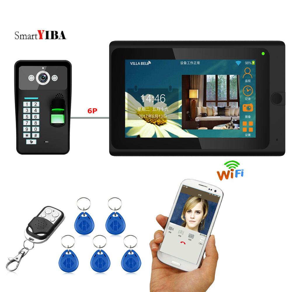 SmartYIBA 7inch Password RFID Access Wireless Wifi Doorbell Fingerprint Video Door Phone Video Intercom+Remote Controller smartyiba 7inch 7inch wired wireless wifi rfid password video door phone doorbell intercom with ir cut 1000tvl camera