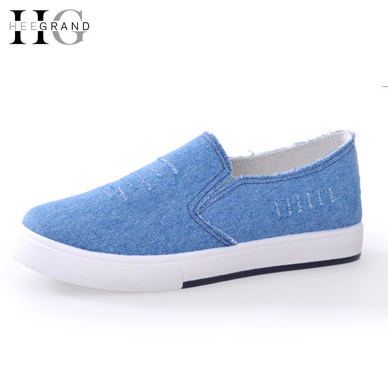 HEE GRAND Platform Canvas Shoes Woman Denim Loafers Shoes For Lovers 2016 Creepers Slip On Flats Casual Women Shoes  XWD4583 hee grand 2017 platform loafers slip on ballet flats pinted toe shoes woman comfortable creepers casual women flat shoes xwd4879