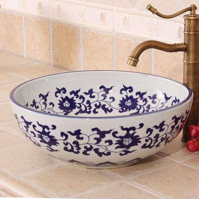 China Artistic Handmade Europe Vintage Lavabo Washbasin Ceramic Bathroom  Sink Art Counter Top Ceramic Decorative Wash