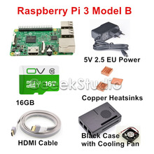 Wholesale Raspberry Pi 3 Model B Starter Kit with 5V 2.5A EU/UK/US/AU Power Supply + 16GB SD Card + Copper Heatsinks + HDMI Cable