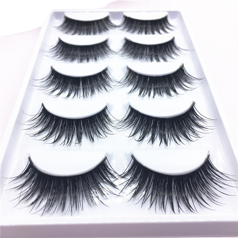5 Pairs Natural Long Mink False Eyelashes Makeup Natural Stage Party Exaggerated Cross Sharpening Mink Lashes Extension Make Up