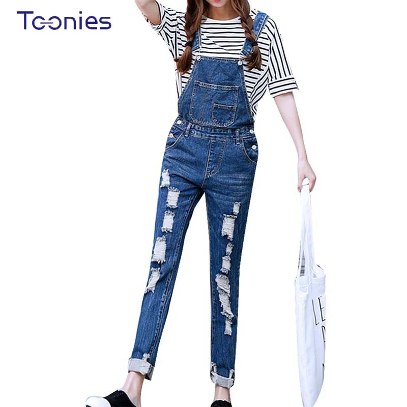 2017 Womens Jumpsuit Denim Overalls Ripped Casual Loose Skinny Jeans Pants Hole Salopette Jeans Women Overalls  Plus size S-5XL  new 2016 fashion brand women washed denim casual hole romper jumpsuit overalls jeans macacao feminino vintage ripped jeans