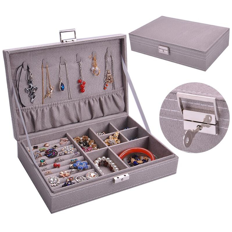Velvet Travel Jewelry Box Organizer Display Storage Case For Rings Earrings Necklace Storage Jewelry Case With Key Jewellery Box
