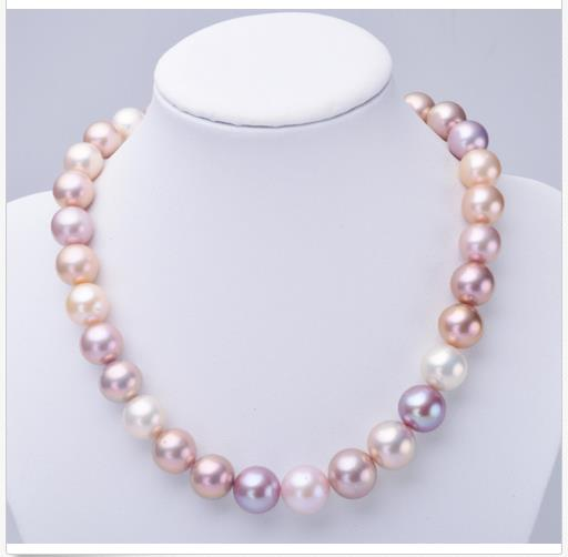 elegant natural 12-14mm south sea round multicolor pearl necklace 18inch 14kelegant natural 12-14mm south sea round multicolor pearl necklace 18inch 14k