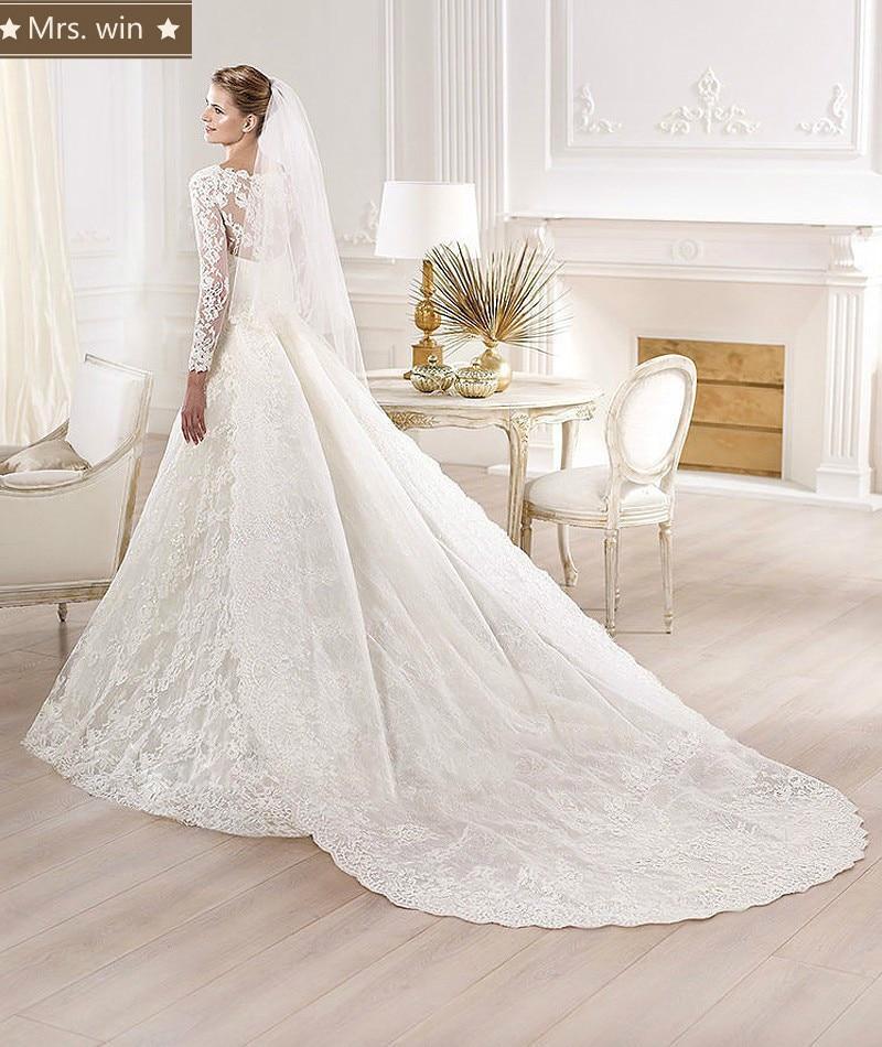2013 Wedding Gowns Detachable Train: Elegant Ball Gown Lace Wedding Dresses With Detachable