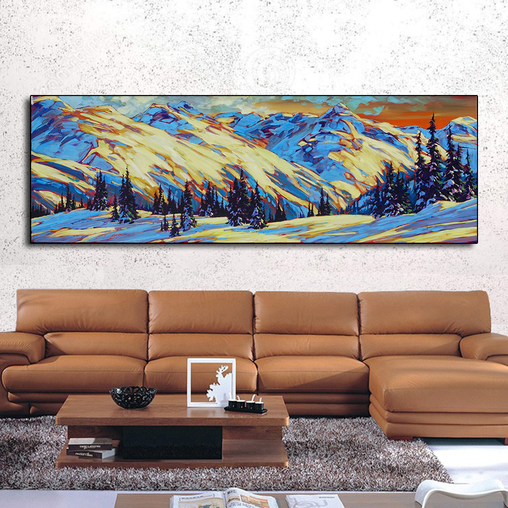 Canvas Painting Wall Art Oil Snow Mountain Forest Picture for Living Room Friendship Home Decor No Frame