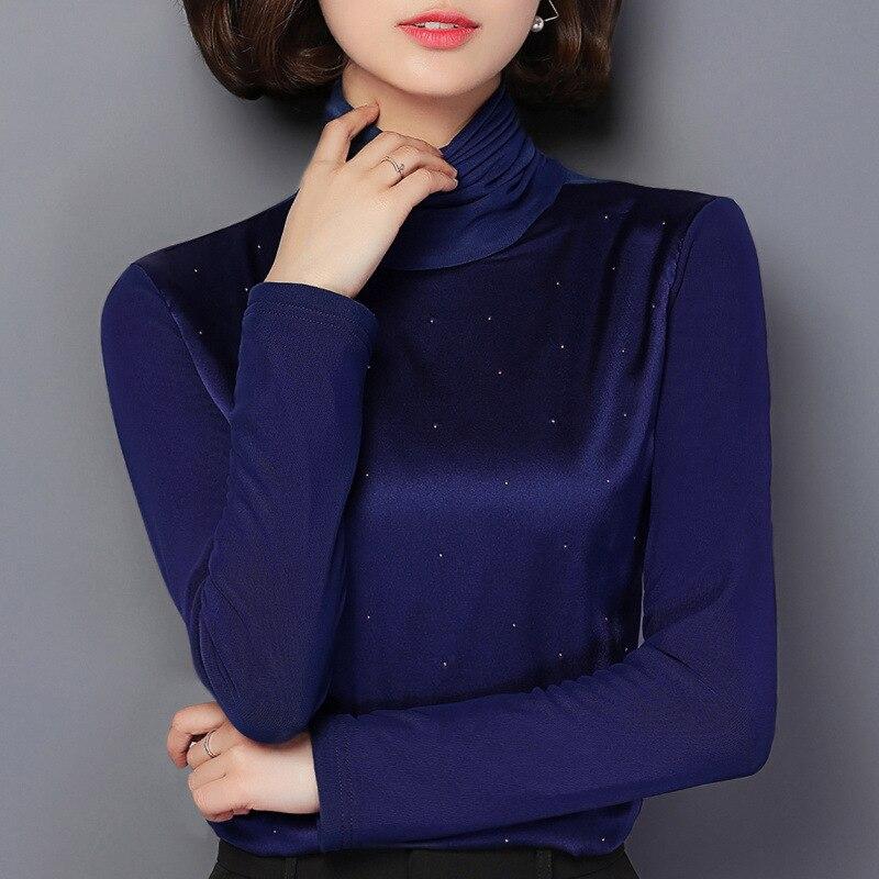 Bas Marque Roulé Mode Velours Femme De T Automne Chemises Tops Noir Strass Causal Femmes rouge Hiver bleu Shirt Col Plus Épais Noir Mince vtYav7qw