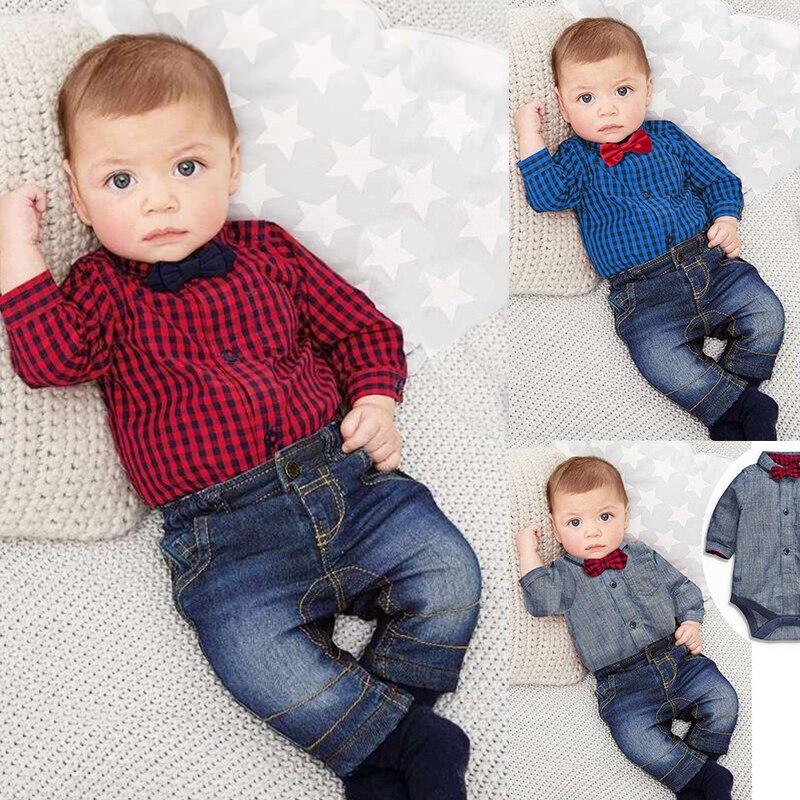 Retail Spring and autumn children's clothing set baby boy cotton striped romper + jean pants 2pcs suit infant denim clothing
