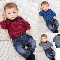 Retail Spring And Autumn Children S Clothing Set Baby Boy Cotton Striped Romper Jean Pants 2pcs