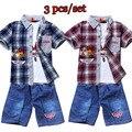 2015 Retail crianças Set desenhos animados DUSTY plano moda terno jeans meninos define t-shirt + pant 3 pcs roupas crianças