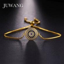JUWANG Turkish Evil Eye Bracelets for Woman Micro Pave Zircon Charm Adjustable Chains Fashion Handmade Jewelry Gift Wholesale