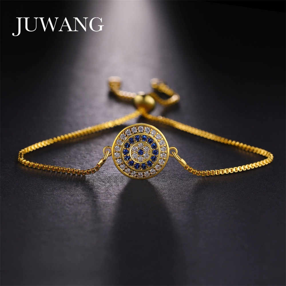 e5b13ab32 Detail Feedback Questions about JUWANG Turkish Evil Eye Bracelets for Woman  Micro Pave Zircon Charm Adjustable Chains Fashion Handmade Jewelry Gift ...