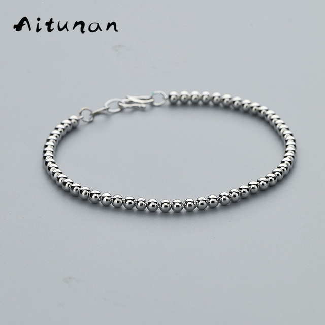 Aitunan Fashion 925 Sterling Silver Beaded Bracelet Simple 3mm Small Bead Wedding Jewelry Por