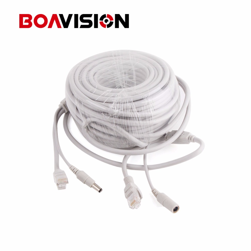 10m / 20m / 30m / 40m Gray CAT5/CAT-5e Ethernet Cable RJ45 + DC Power CCTV Network Lan Cable For NVR System IP Cameras